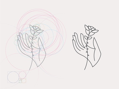 Hand and Rose. Illustration construction rule logo proportion line illustration grid circles rose tattoo hand ratio golden