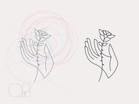 Hand and Rose. Illustration construction