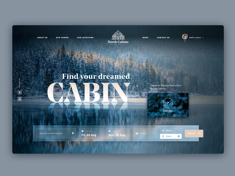 North Cabins dark branding holiday searcher ux web big type booking ui mountain nature cabin