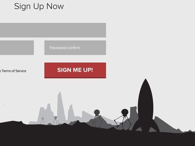 BoxRockit Signup forms signup sign up rocket moon landscape buttons proxima nova oxygen