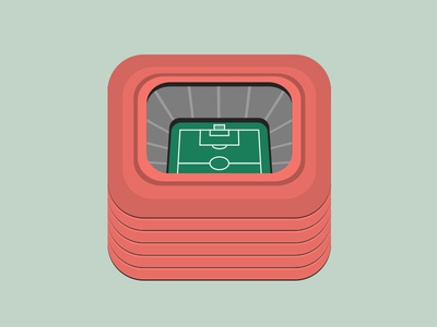 Stadium Icon icon app ios stadium illustration red green soccer football