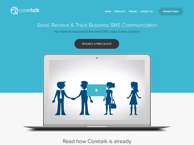 Coretalk redesign sms communication proxima nova blue responsive web design industry icons wordpress