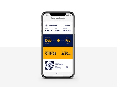 Re-imagining a Mobile Boarding Pass invision studio airline time iphonex lufthansa pass travel ticket flight boarding app