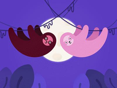 Hang in there! moon night jungle animal digital illustration illustration sloths