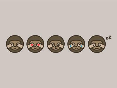 Sloth Emojis vectors emojis emoji sloth animal dribbleweeklywarmup 2d icon digital illustration illustration