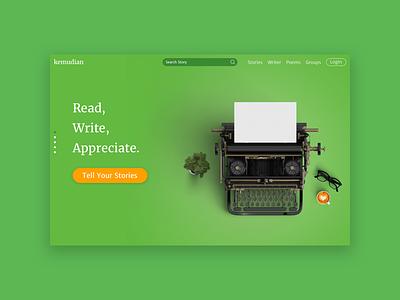 Kemudian Revamp story media social app type text book write design page landing ui