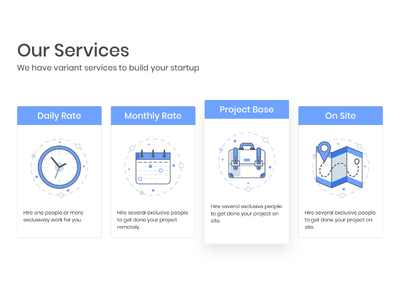 Skyshi Services calendar clock icon briefcase map onsite project monthly daily price services pricing