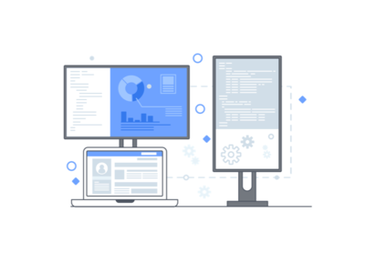 Scale Up Startup - 1 job mac programming code flat about business monitor design illustration