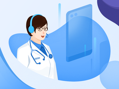 Doctor phone woman portrait illustration examination doctor