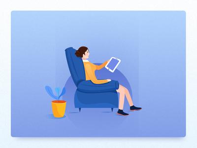 Sofa~ yellow web blue doctor illustration