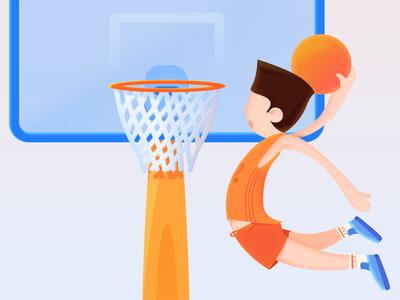 Takeoff yellow dunk bule shoot basketball illustration