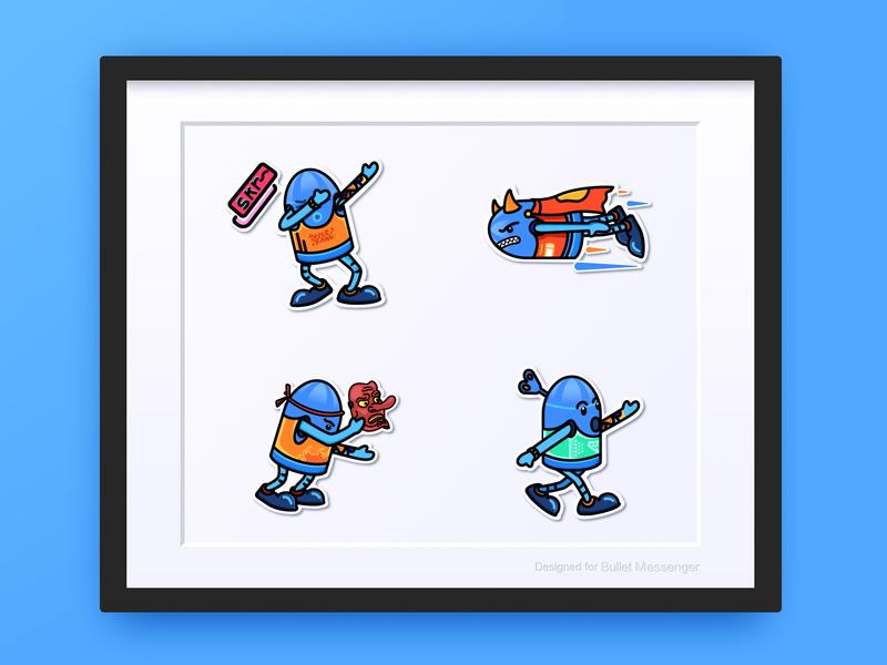 Bullet Messenger(子弹短信) smartisan paster emoji bullet messenger bullet dribbble blue photoshop illustration