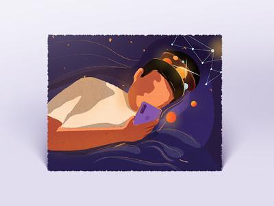 Cannot sleep! procreate ipadpro night design 六回 illustration