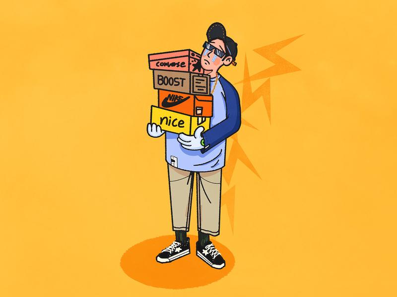 Sneaker boy yellow procreate app ipad pro 六回 illustration sneakers