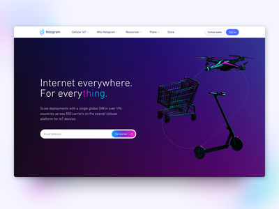 Hologram.io Home Page gradient button call to action dark mode internet of things iot cinema4d c4d home screen homepage website design gradients website gradient