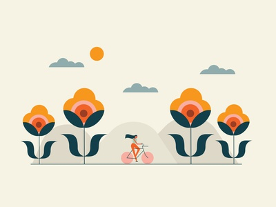 Happy Earth Day! Bloom cycling earthday illustration graphic