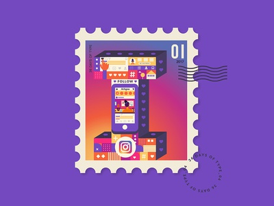 I for Instagram from my Stamp Collection