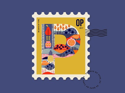 Letter P from my stamp collection illustration typelove 36daysoftype peach pomegranate pear