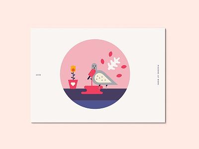 Pigeons at Work bird studio. illustration work ice cream design pigeon