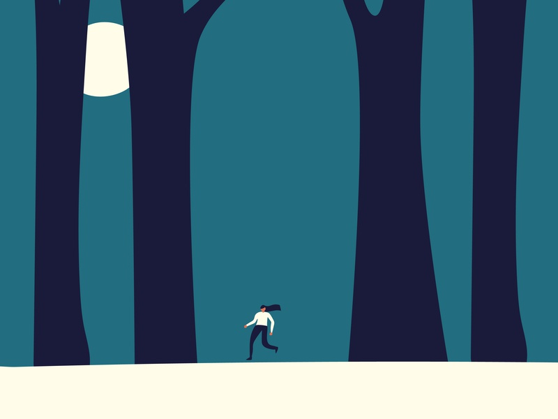 Lost forest space illustration graphic