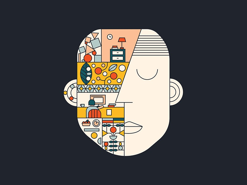 Current state of mind abstract mind design illustration graphic