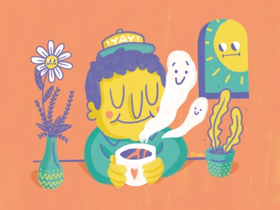 Rooibos kid sketch photoshop doodling doodle chill naive illustration illustration peach color draw naive benevolent smoke sun sun smiling smiling flower smiling hygge coffee rooibos kid