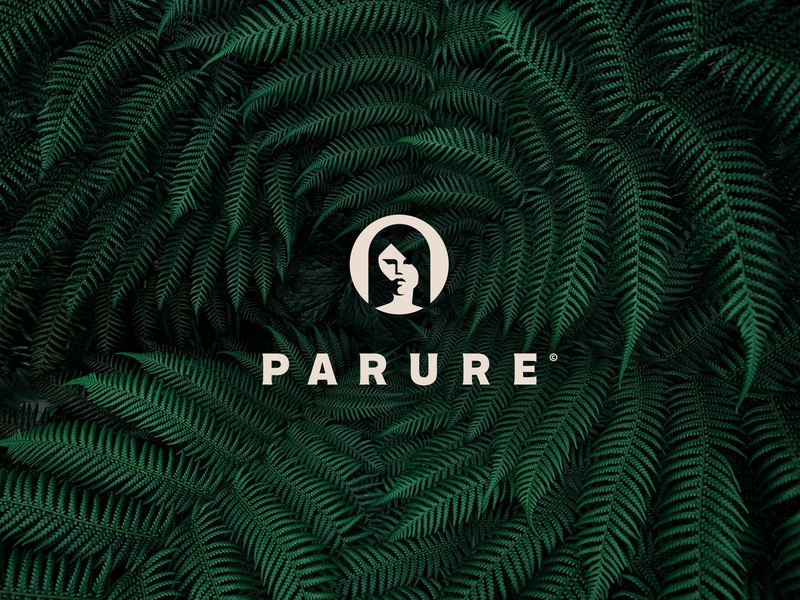 Parure Logo Branding lady cosmetics logo haircare highend luxury minimal fern ferns leaf natural green branding design beauty hair space negative woman branding logo parure