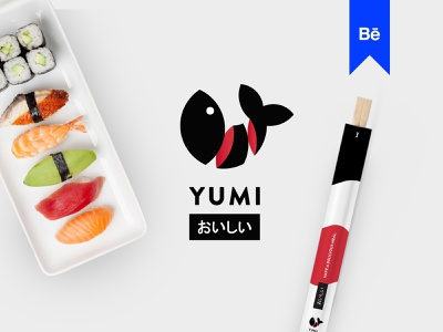Yumi Sushi Branding Project Behance badge branding minimal japanese art rice logo behance restaurant food app roll luxury restaurants fish seafood japanese sushi food asian