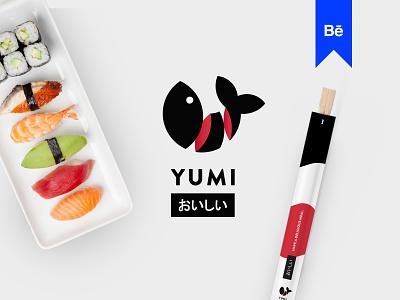 Yumi Sushi Branding Project Behance badge branding minimal japanese art rice logo behance restaurant food app roll luxury restaurants fish seafood japanese sushi food asian