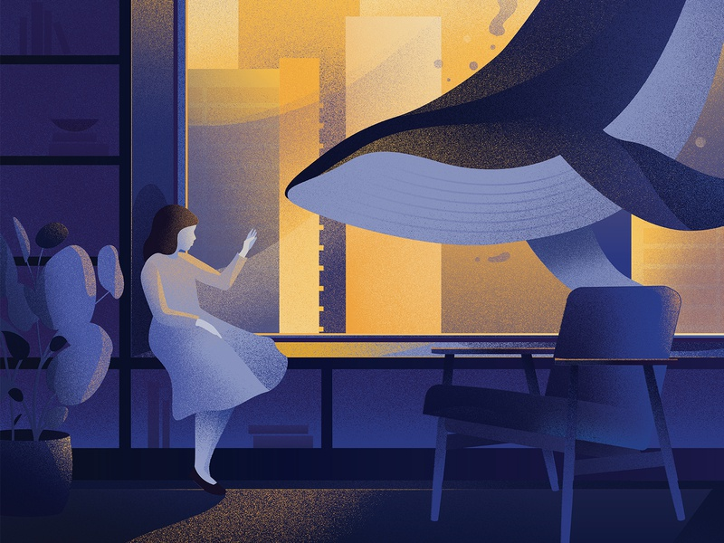 Quarantine Illustration hand touching woman logo whales night dreamy sea life illustrator editorial grain yellow blue quarantine life texture grainy woman illustration room whale quarantine