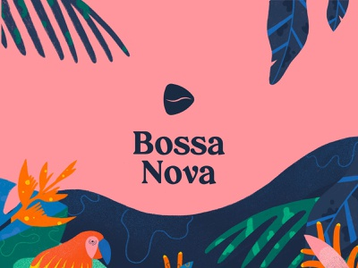Bossa Nova Coffee Branding drinks vector plant plants brazilian pink blue luxury logo music play play button coffee bean parrot luxury branding illustration brazil tropical coffeeshop luxury coffee