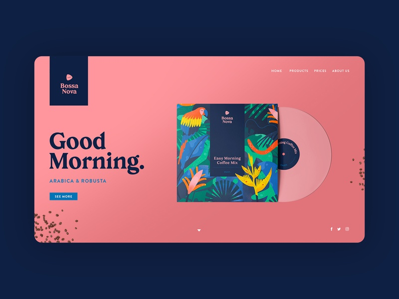 Bossa Nova Website UI ui design uidesign website design tropical illustration brand identity high end luxury home landing website webdesign record vinyl packaging branding ux design coffee ux ui