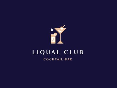 Liqual Club Logo illustration club navy party cocktail party branding luxurious cocktails drink minimal geometric gold blue bar luxury cocktail bar drinks cocktail logo