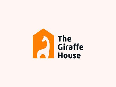 The Giraffe House Logo minimal playful children branding horse lamar africa safari jungle organic bold rounded friendly orange fun house zoo logo animal giraffe
