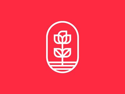 Flower branding red pick lines vector logo flower