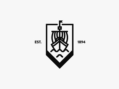 Boat Badge branding illustration est waves sea bw fancy lined vector logo badge boat