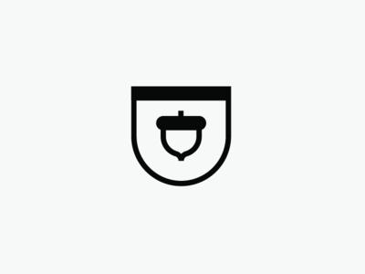 Acorn Badge lined round minimal simple vector logo nut bw badge quirrel acorn