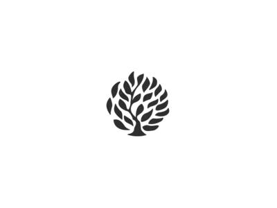 Tree Mark vector simple round nature leaves minimal logo lined bw badge tree