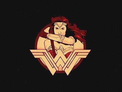 Wonder Woman Badge comic vector yellow red marvel illustration tricolor hero super badge woman wonder