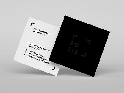 Folie Business Card Concept lined minimal production film logo businesscard square lines bw black branding