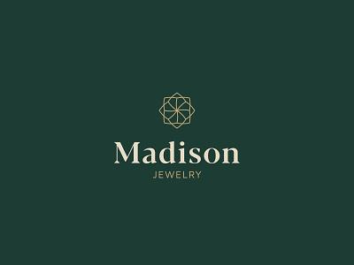 Madison Jewelry logo concept badge lines minimal icon mark symbol diamond marks serif outlined mark jewelry design vector maple greens gold luxury jewelry logo branding jewelry madison