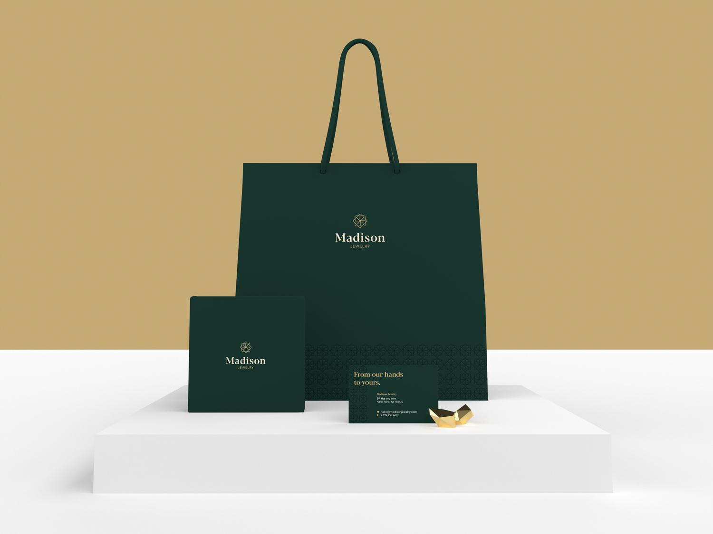 Madison Jewelry Branding Elements adobe dimension packaging packaging design product design render 3d gold jewelry store jewelry shop dimension vector luxury minimal mockup diamond shopping bag jewelry branding