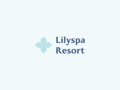 Lilyspa Resort Logo minimalism air lille lilly lilypad serif sea badge branding lilac resort sauna water blue minimal logo flower spa lily