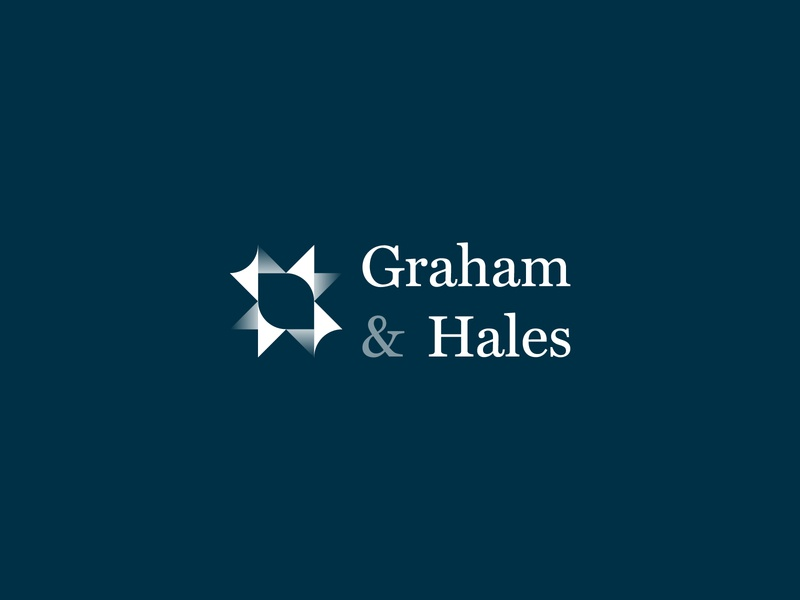 Graham & Hales Accountant Firm Logo classy class luxury serif gradient color blue white branding design mark law finance accountancy star gradient badge minimal logo design logo