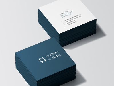 Graham & Hales Mockup Square Business Cards serif typography brandlogo logodesigner logodesign minimalist navy blue classy minimal luxurious finance logo gradient businesscard accountant branding stationary card business cards