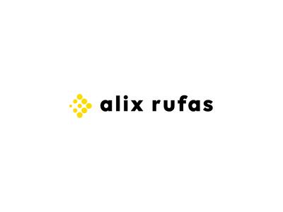 Alix Rufas Logo Animation minimal logodesign logos logo animation vector logotype arrow circles modern sans serif bold yellow black dots branding logo design animation logo