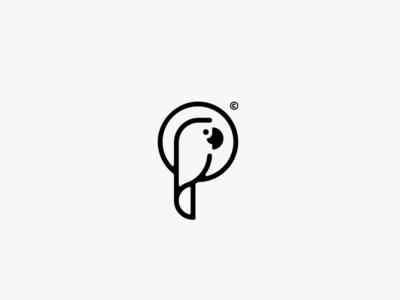 Parrot Logo bw black and white luxury vacation sea illustration bird logo outlined tropical bird parrot minimal branding logo