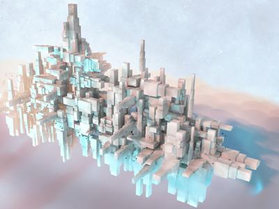 Ship City 4082 battleship cityscape modo 3d