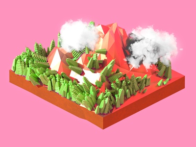 Clouds over candy mountain voxels pop colorful lowpoly modo 3d