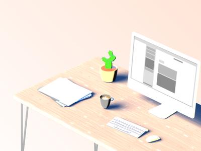 Fresh Desk modo clean imac coffee cactus desk illustration 3d